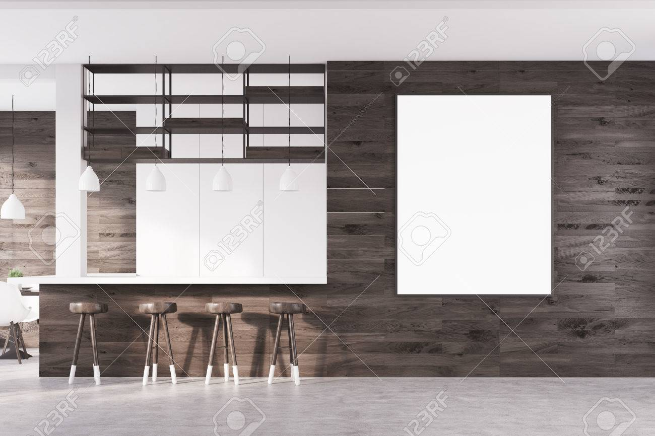 Front View Of A Bar Interior With Dark Wooden Walls, A Bar Counter ...