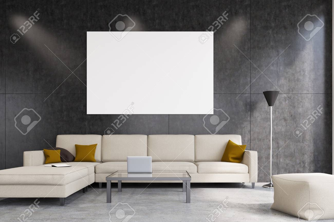 Remarkable Front View Of A Living Room With Gray Walls A White Sofa And Gamerscity Chair Design For Home Gamerscityorg