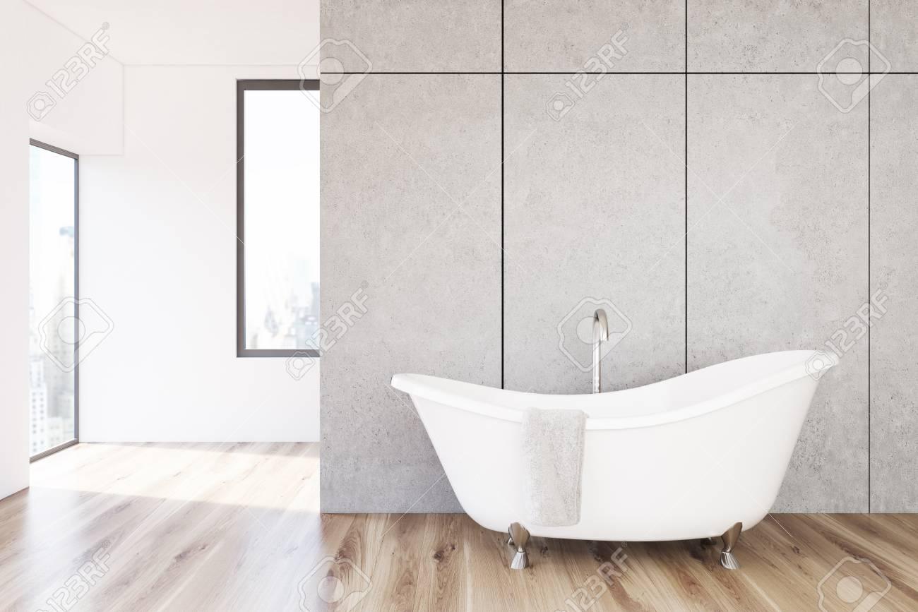 Minimalistische Badezimmer Interieur Mit Einer Cpncrete Wand Und