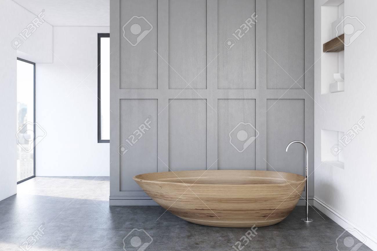 Minimalistisches Badezimmerinnenraum Mit Einer Grauen Wand Und Einer