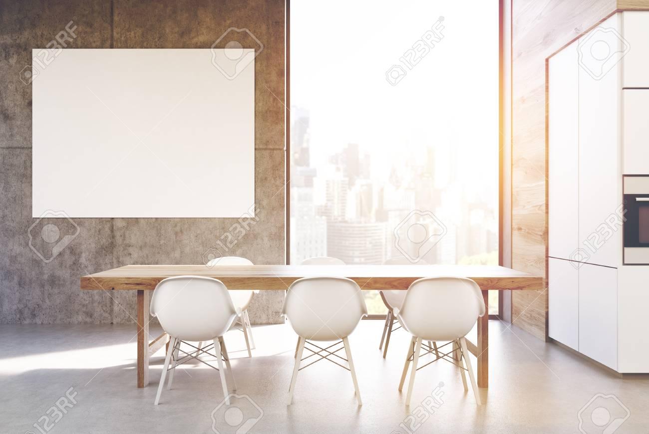 3dMaquette Gris De Est Blanches FenêtreRendu Affiche Et Cuisine Table La Grande En Entourée Chaises Près Mur Une Avec D'un Longue Bois XiTwuZOPk