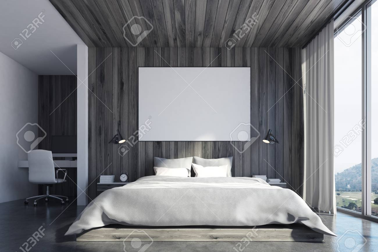 Front View Of A Wooden Wall Bedroom Interior With A Double Bed Stock Photo Picture And Royalty Free Image Image 78566233