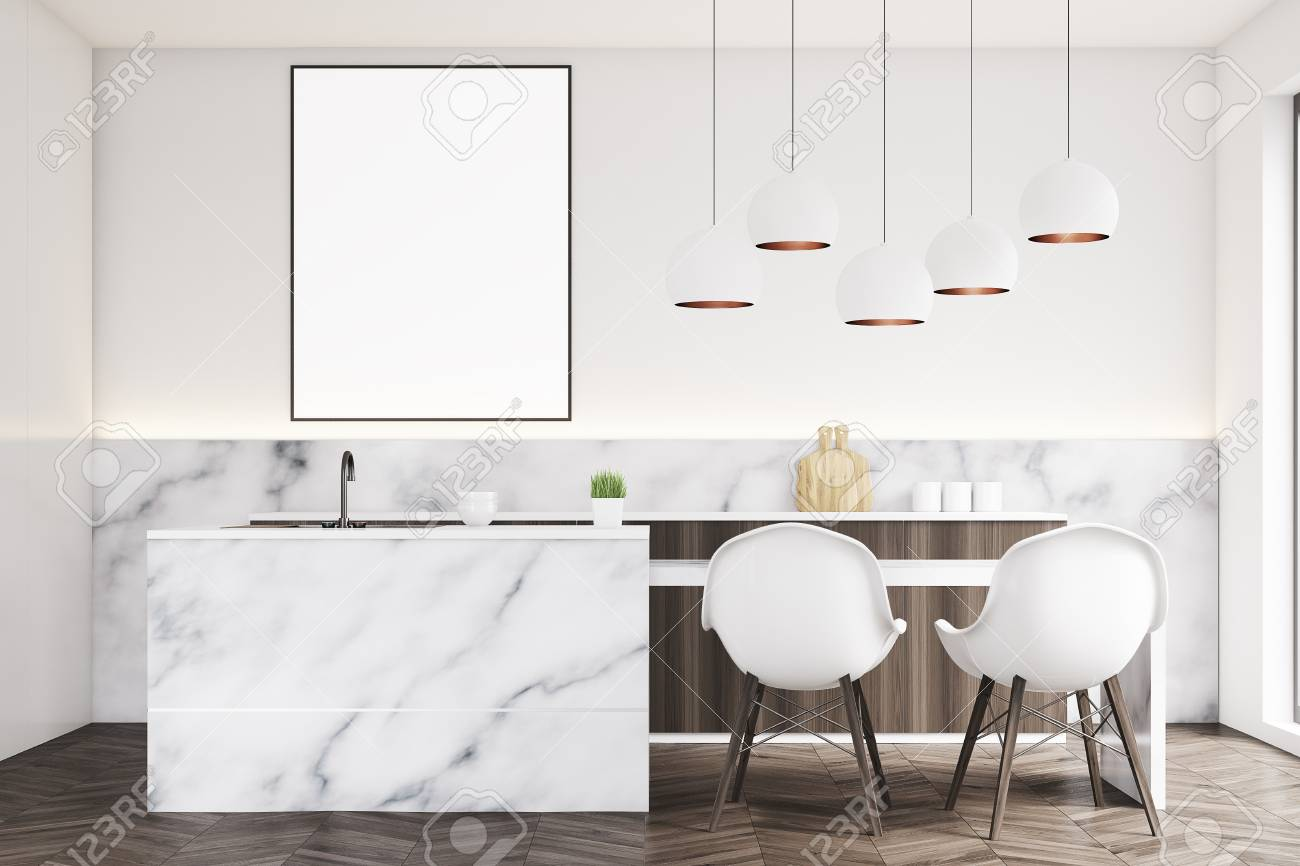 Marble Kitchen Interior With A Small Table Two White Chairs Stock Photo Picture And Royalty Free Image Image 78566889