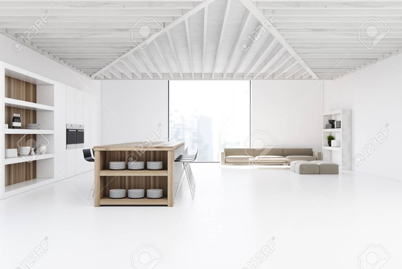 Studio Kitchen And Living Room Interior With A Bar, A Row Of.. Stock ...
