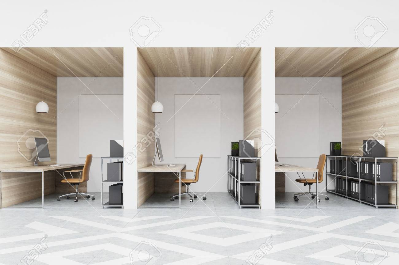 office with cubicles. Office Cubicles In An Office With White And Wooden Walls Diamond Floor  Pattern. There S