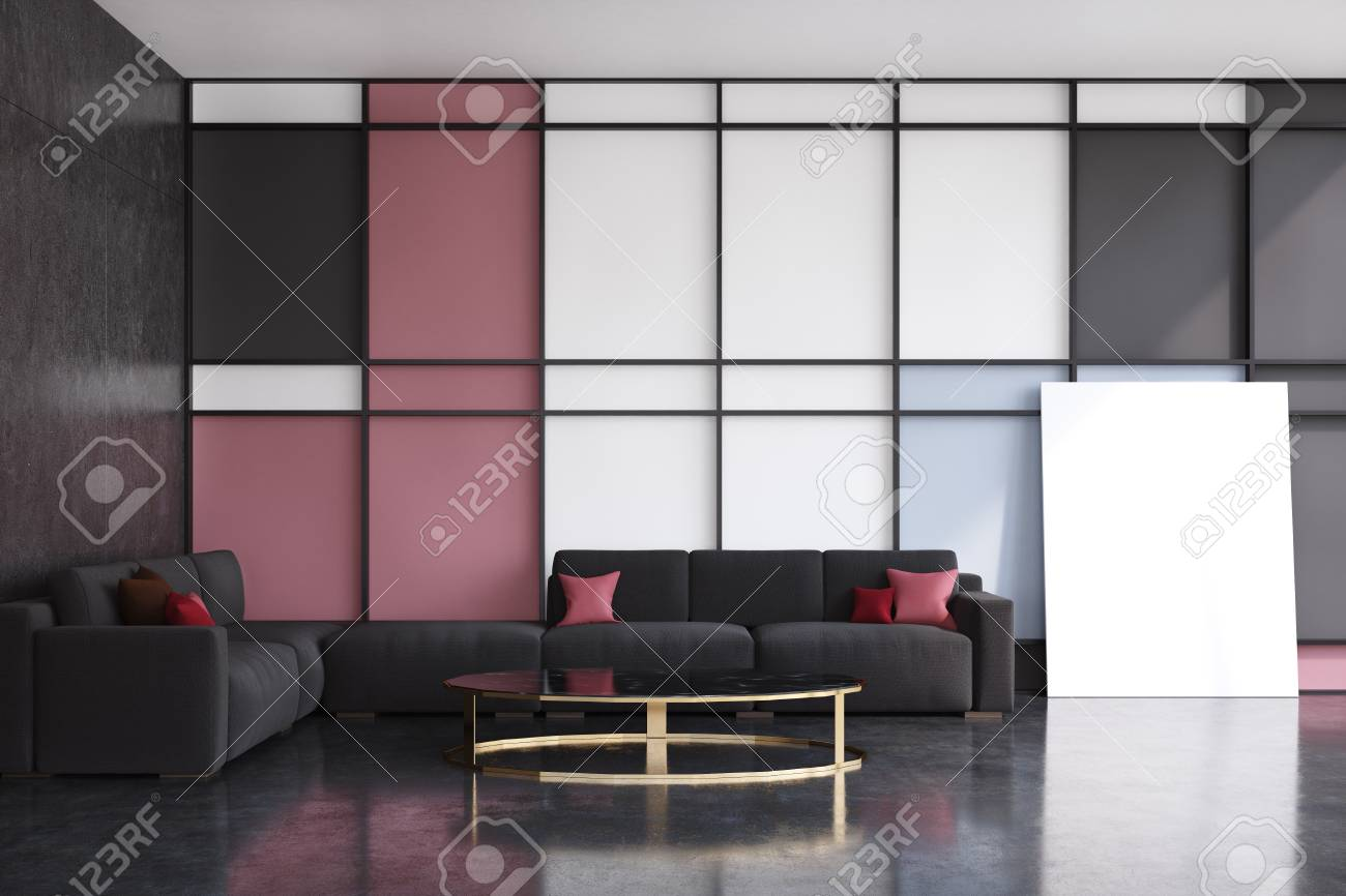 Front View Of A Black And Red Living Room With Two Black Sofas ...