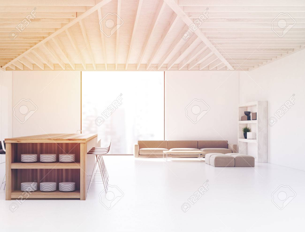 Immagini Stock - Studio Cucina E Salotto Interno Con Un Bar, Una ...