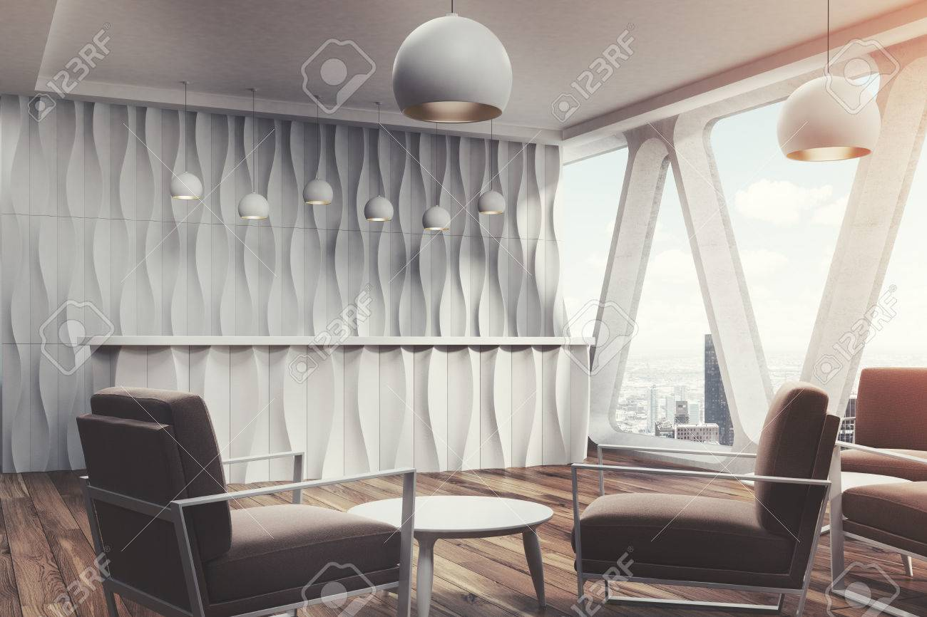 Zone d attente pour bureau avec un mur ondulé comptoir de