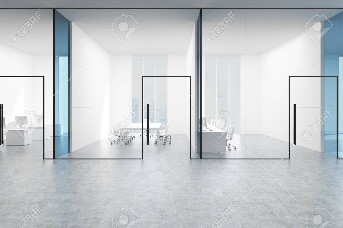 Blue Transparent Office Lobby With A Conference Room And Two Stock Photo Picture And Royalty Free Image Image 79037068