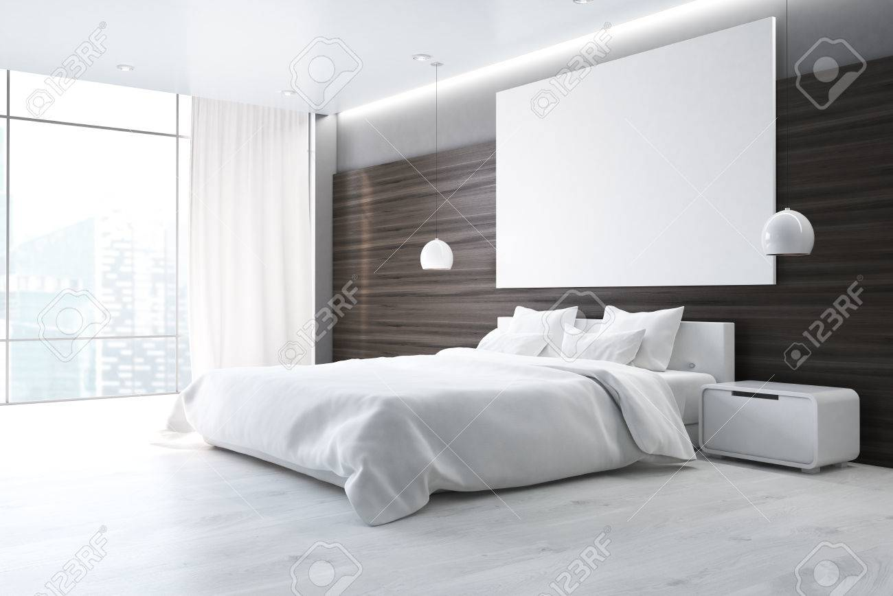 Ordinaire Side View Of A Brown Wall Bedroom Interior With A Double Bed, A Bedside  Table