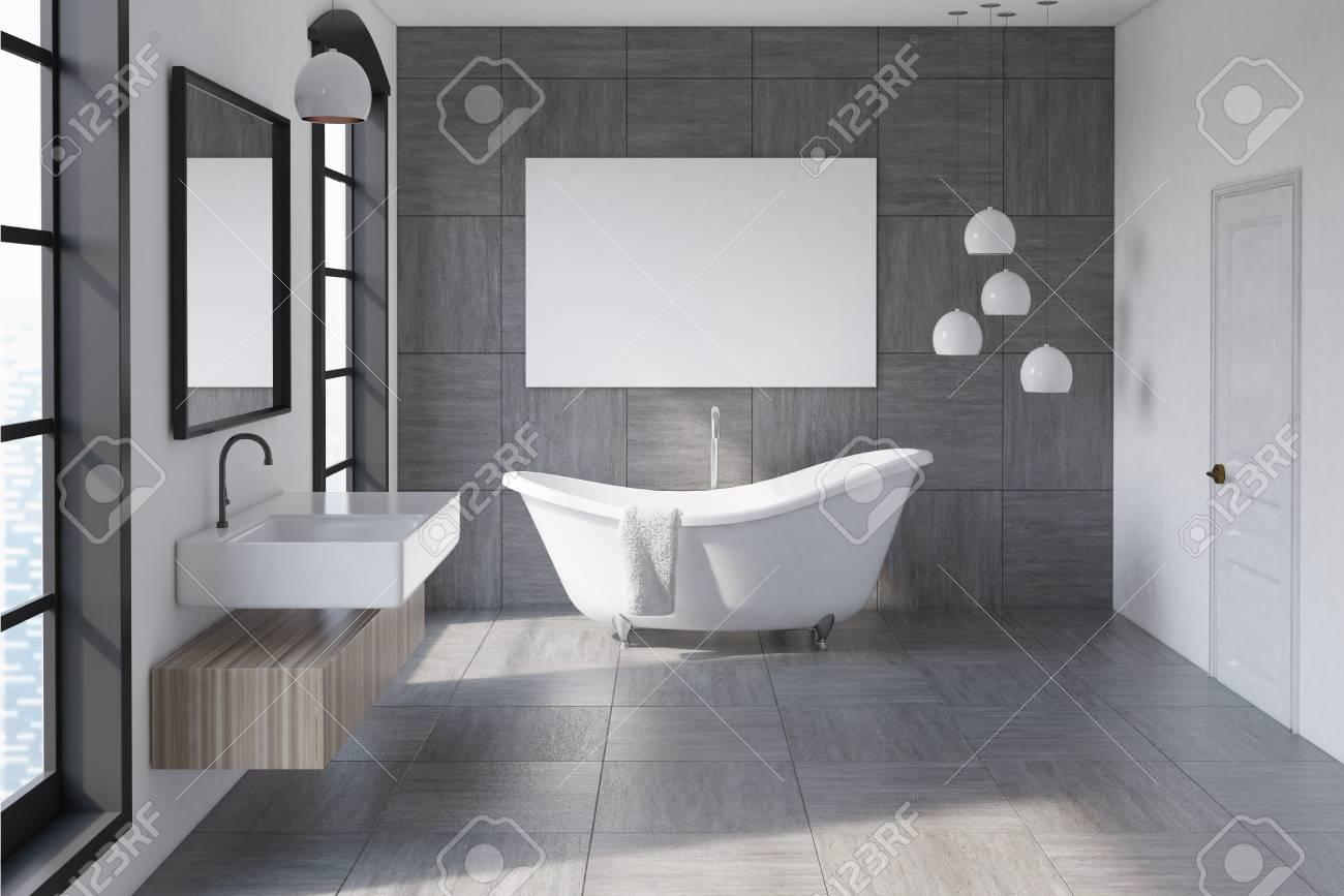 Badezimmer Innenraum Mit Einer Grauen Gefliesten Wand Eine Weisse