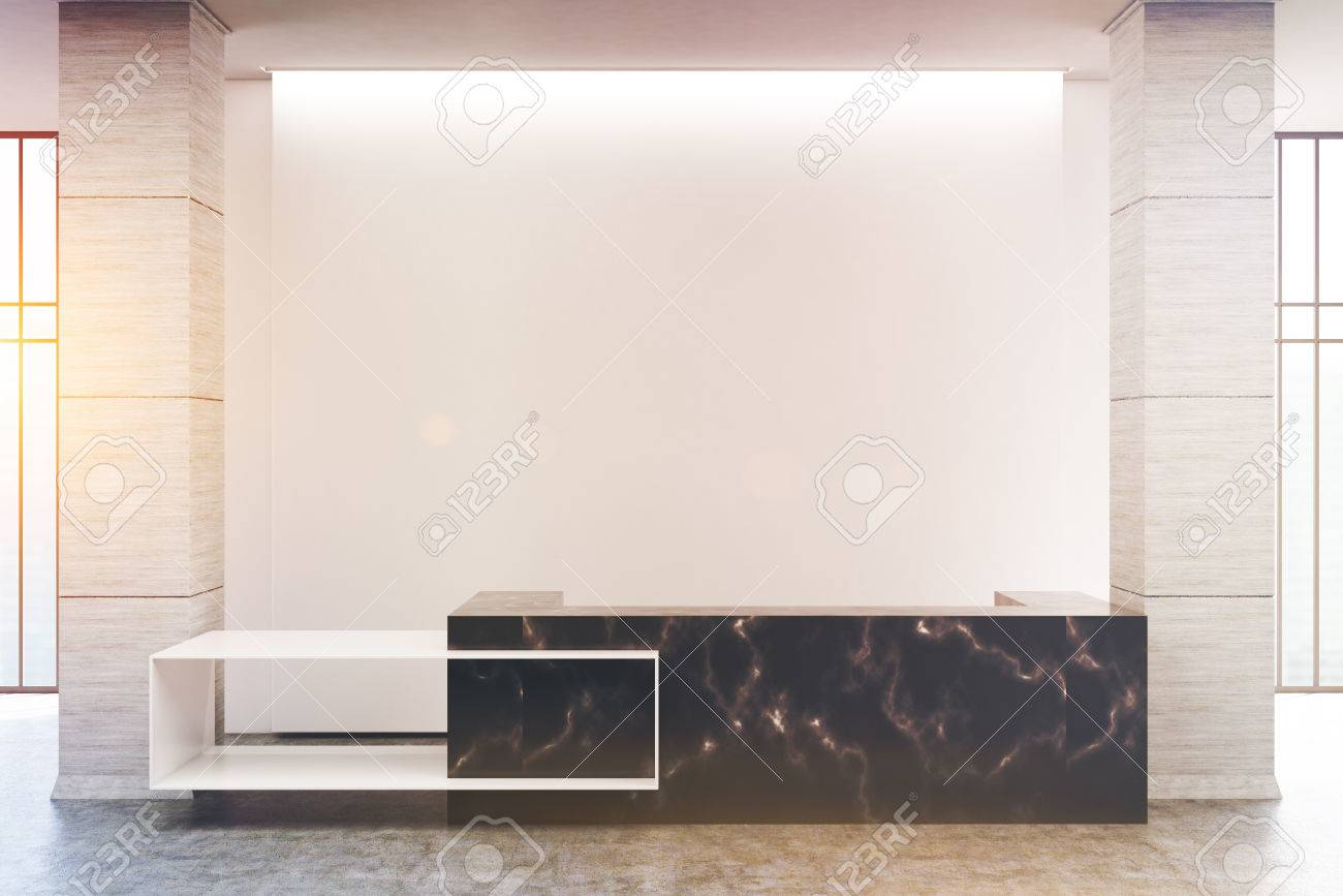 Black Marble Reception Counter Of An Original Construction Is Stock Photo Picture And Royalty Free Image Image 79423145
