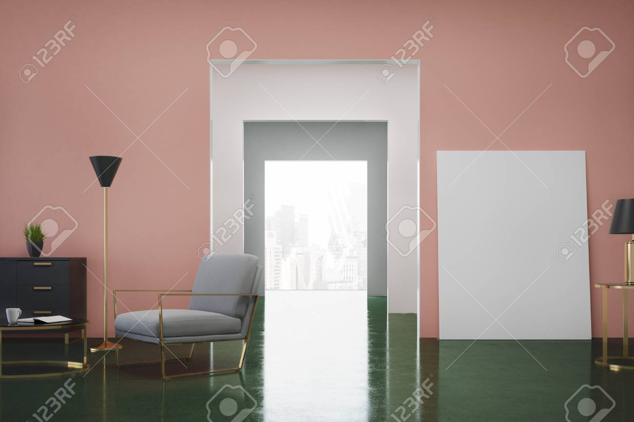Intérieur De Salon Rose Et Vert Avec Un Fauteuil Gris, Une Commode ...