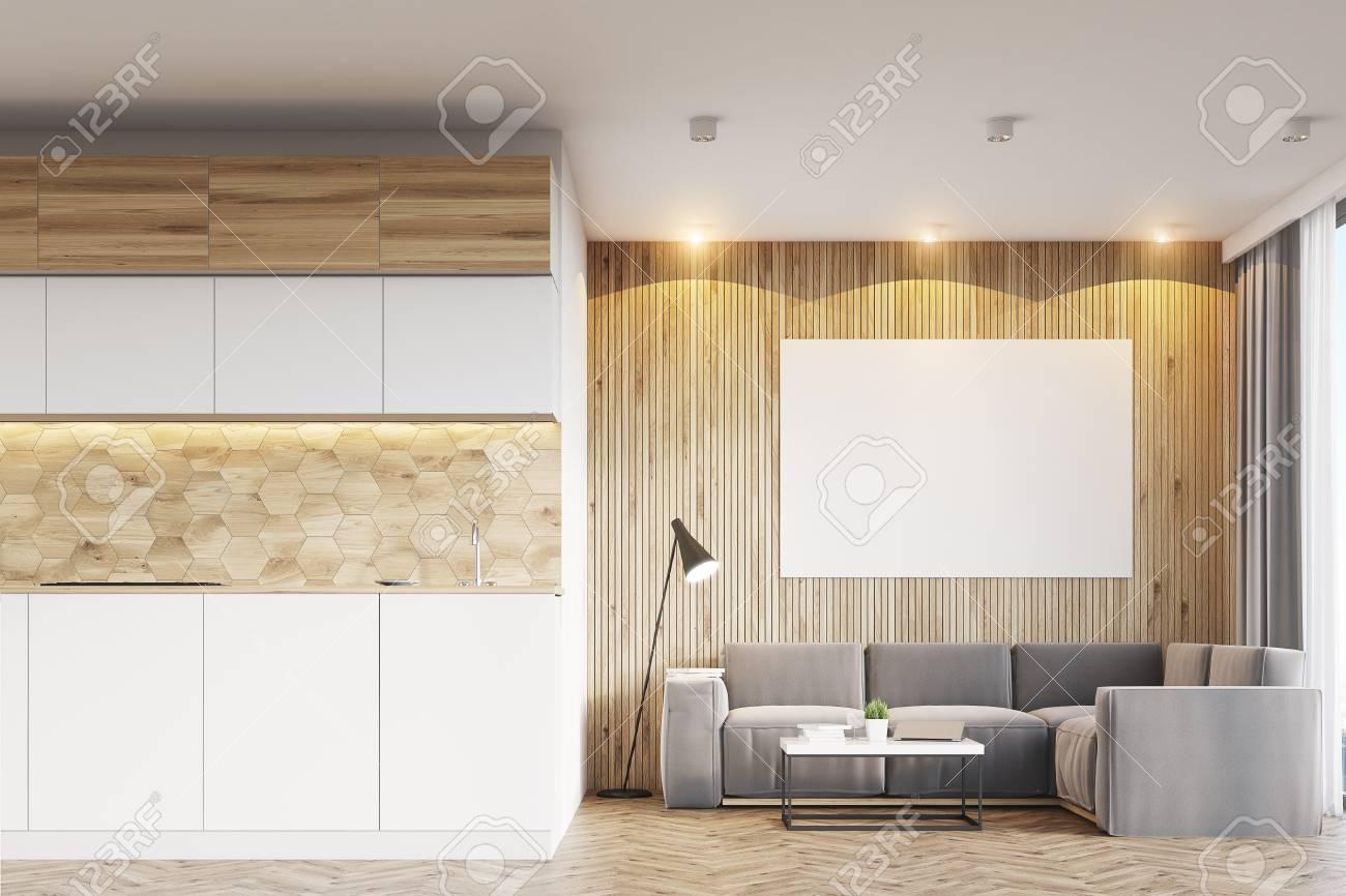 Pareti Beige Chiaro : Interno soggiorno con pareti in legno chiaro un bancone della