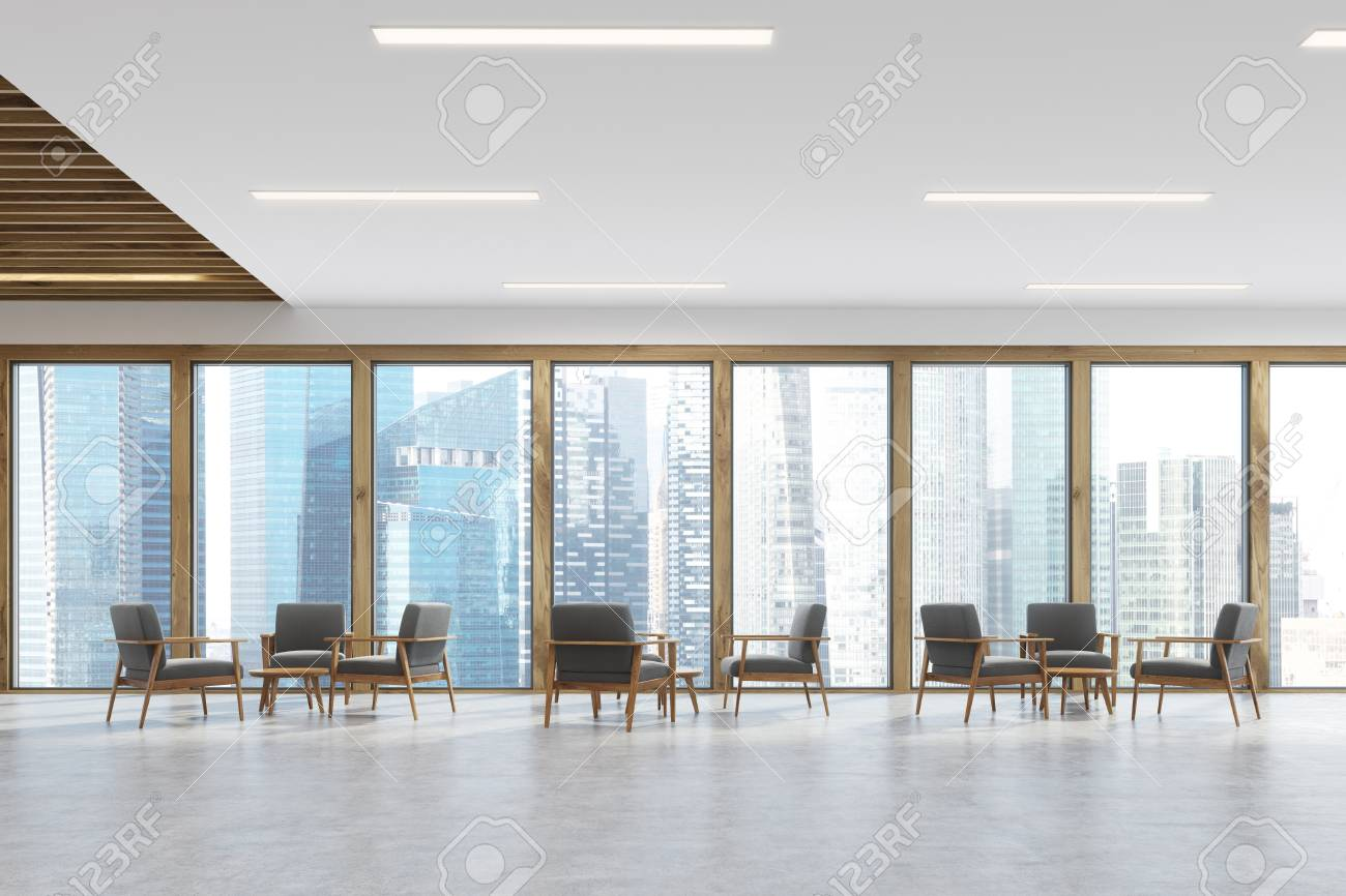 Waiting Room Room Of A Modern Office With Panoramic Windows With  # Waiting Muebles