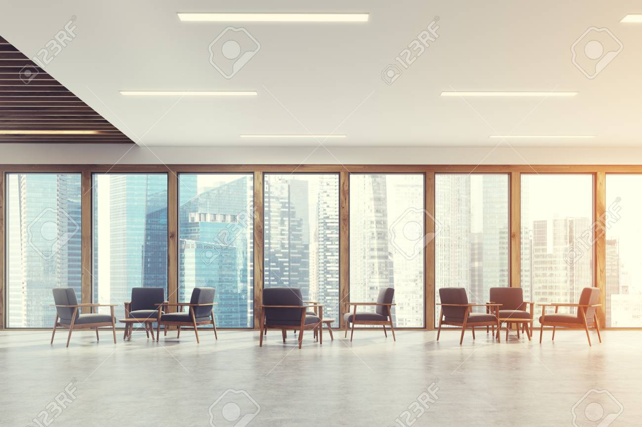 Waiting Room Room Of A Modern Office With Panoramic Windows With ...