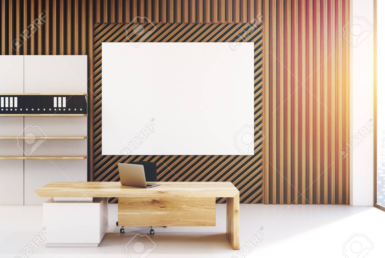 Plank Office Interior With Walls Made Of Straight And Diagonal Planks Wood There Is