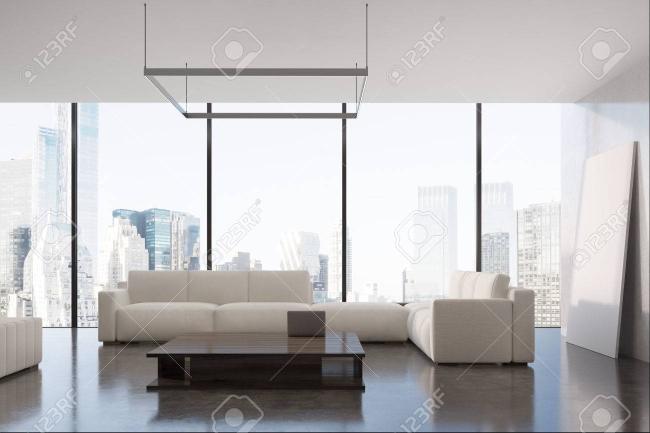Panoramic Living Room Interior With Two Beige Sofas Standing Stock