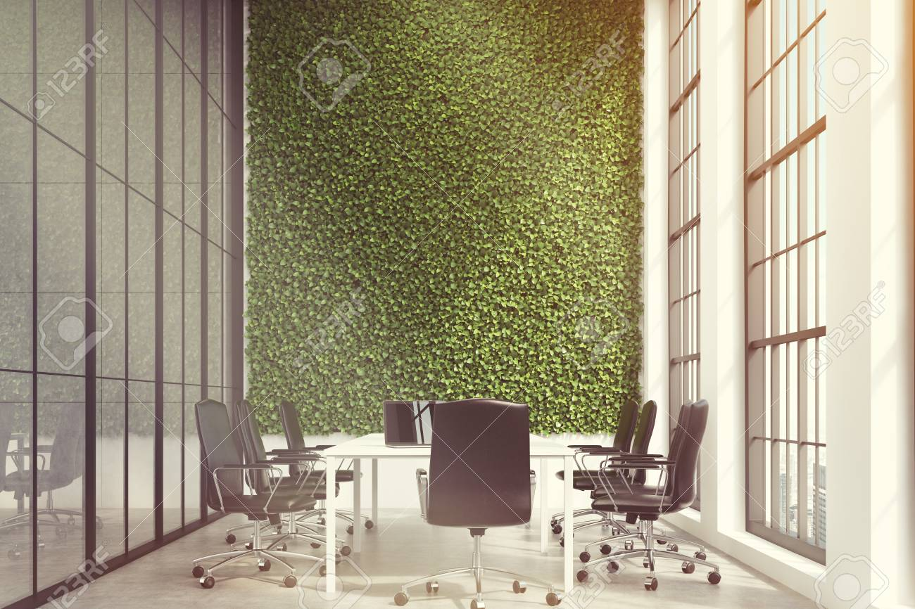 Conference Room Interior With A Grass Wall A Long White Table - Tall conference table