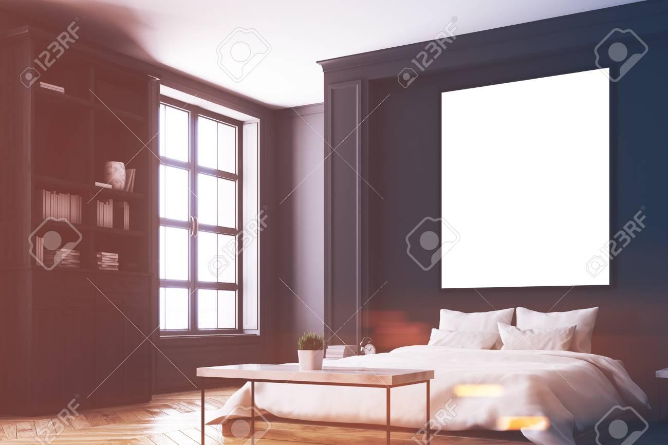 Camere Da Letto Pareti Grigie : Interni della camera da letto di lusso con pareti grigie e nere