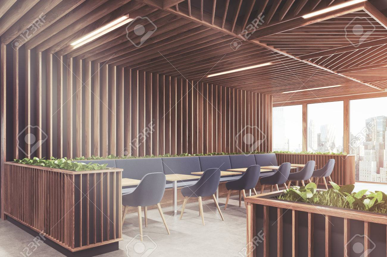 Side view of a modern cafe or a coffee shop interior with wooden side view of a modern cafe or a coffee shop interior with wooden walls panoramic malvernweather Gallery