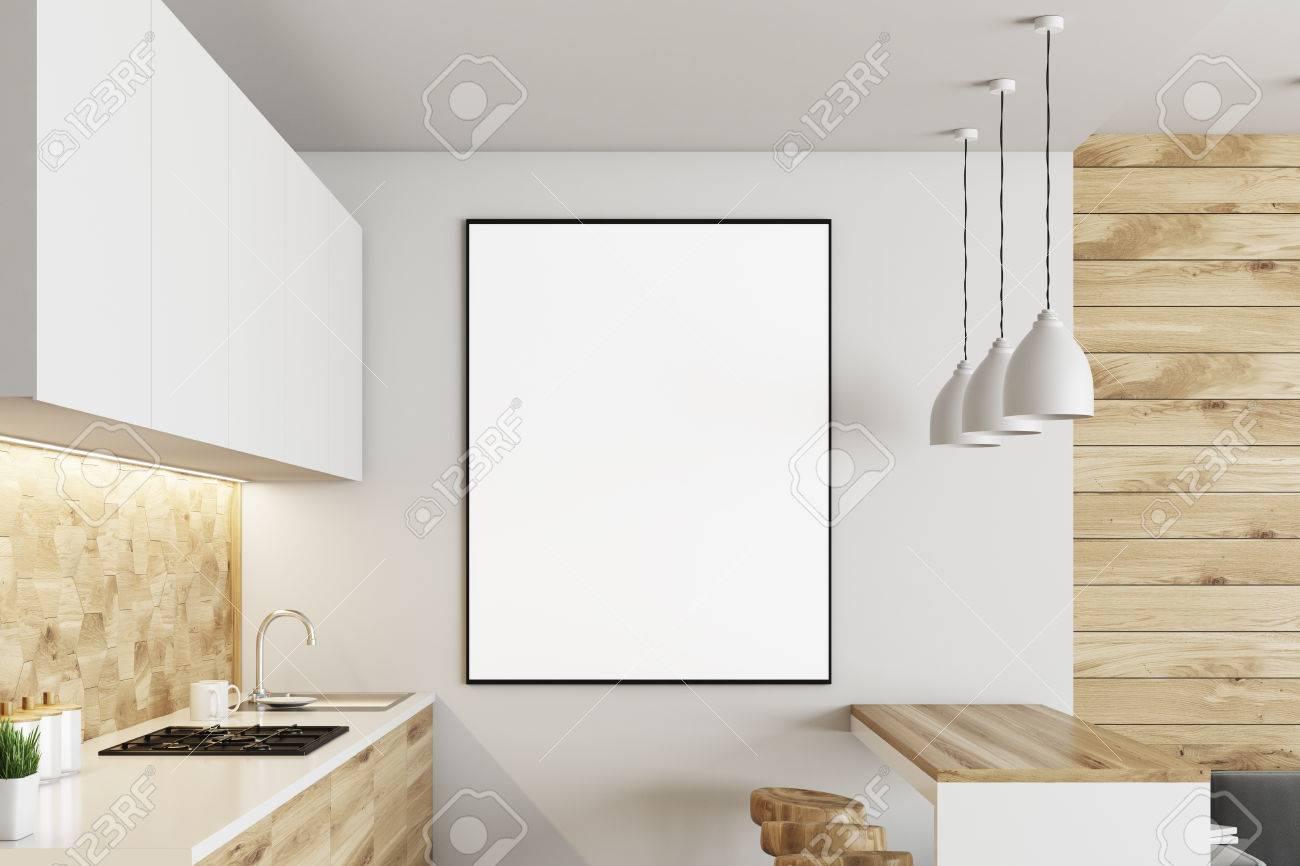 Interior De Cocina De Lujo Con Paredes Blancas Y De Madera ...