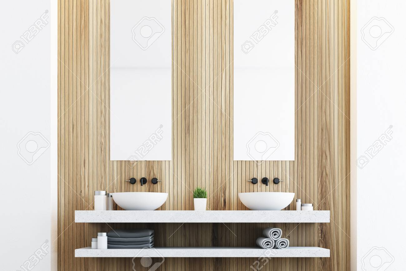 Wooden Bathroom With A Light Wall, Two White Sinks And Two Tall ...