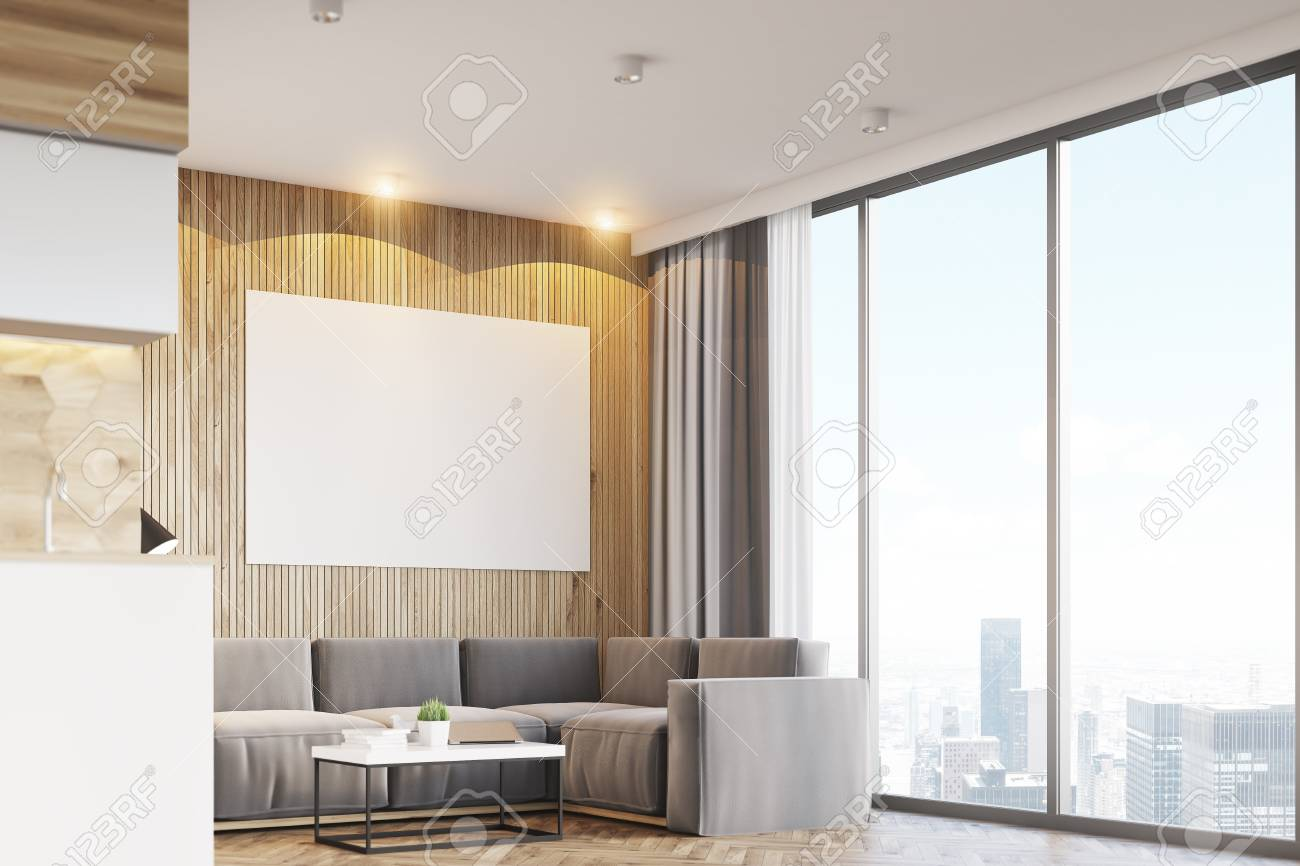 Side View Of A Living Room Interior With Light Wooden Walls,.. Stock ...