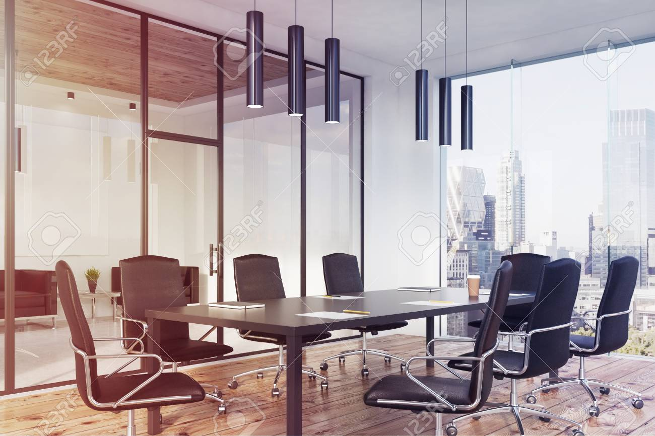 Corner Of A Panoramic Meeting Room Interior With A Long Table - Black conference room table