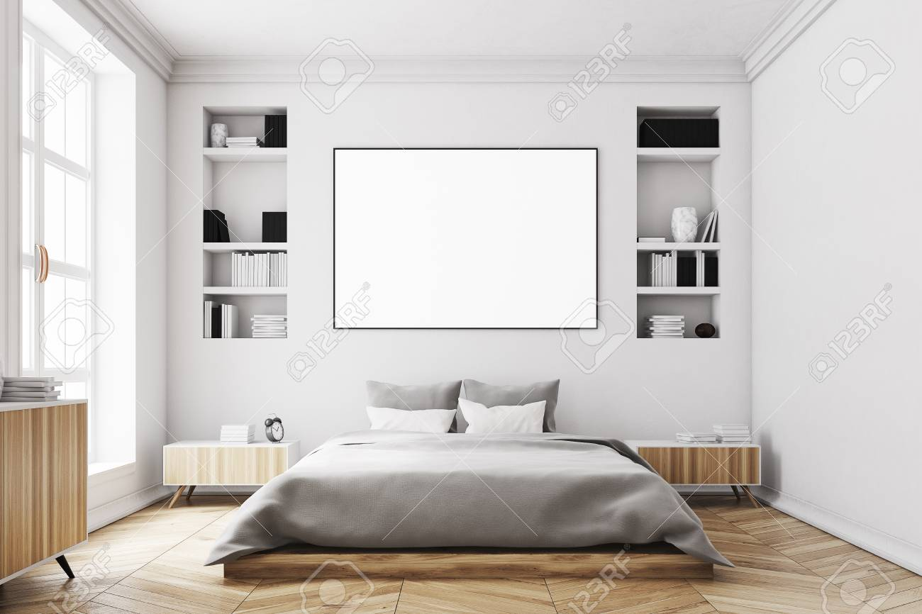 Interior Of A Modern Luxury Bedroom With White Walls A Large Stock Photo Picture And Royalty Free Image Image 80596436