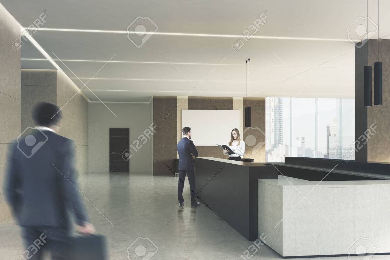 office lobby designs. Office Lobby Interior With Beige Walls, A Dark Wooden Reception Desk And People Working Designs I