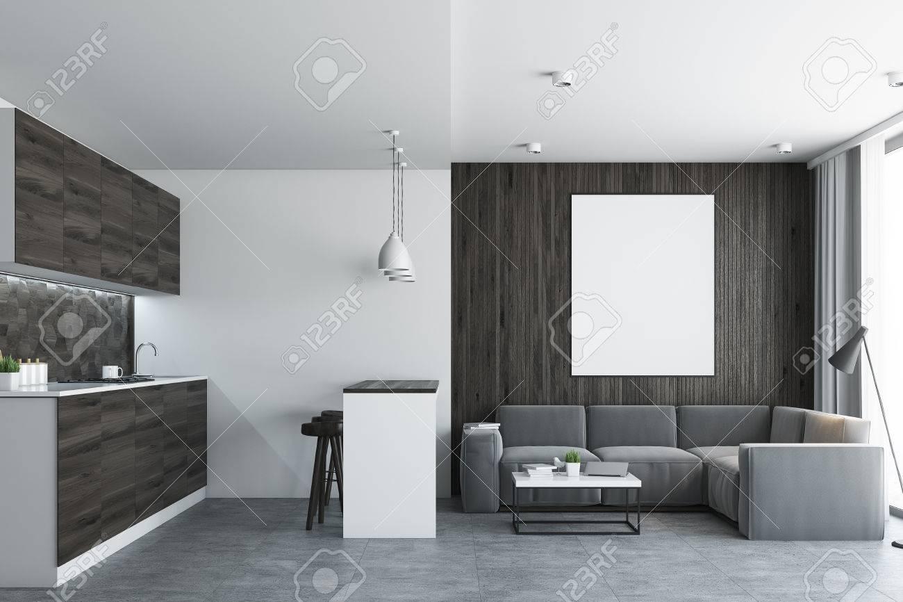 Standard Bild   Wohnzimmer In Einem Studio Mit Holz  Und Weißen Wänden,  Einem Holzboden Und Einer Küchenecke. Bartisch Mit Hockern. Vertikales  Plakat.