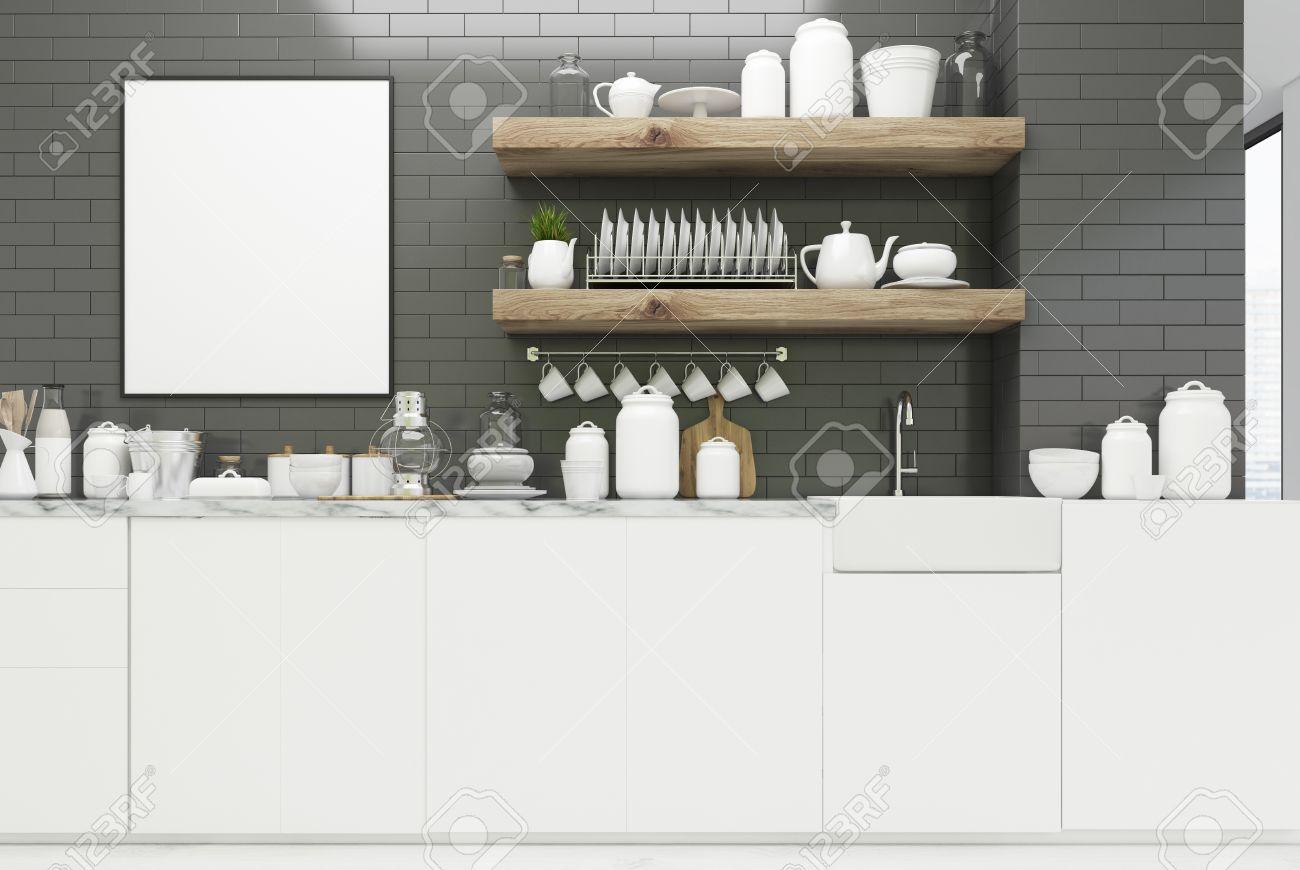 Gray Kitchen Interior With Brick Walls, Massive Wooden Shelves ...