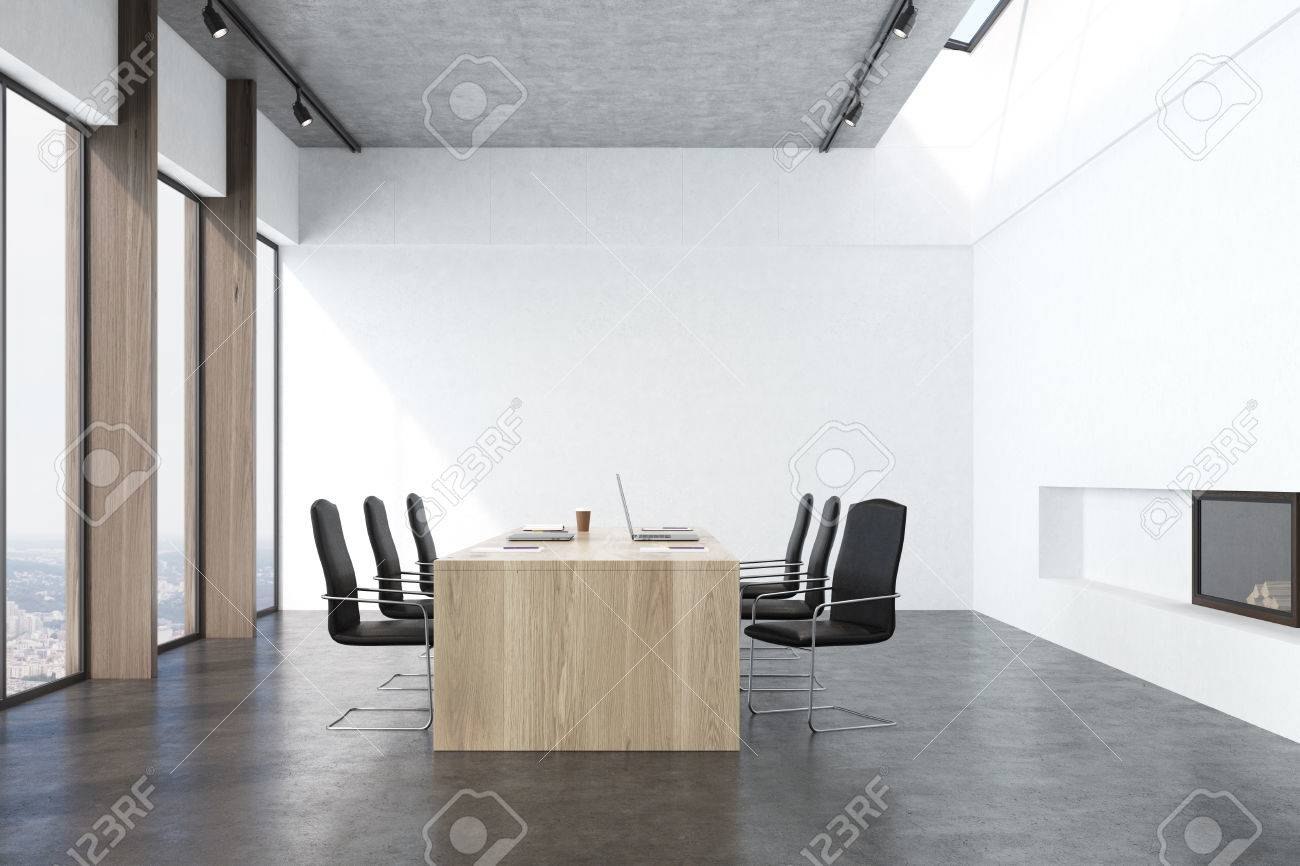 Front View Of A Conference Room Interior With White Walls, Concrete ...