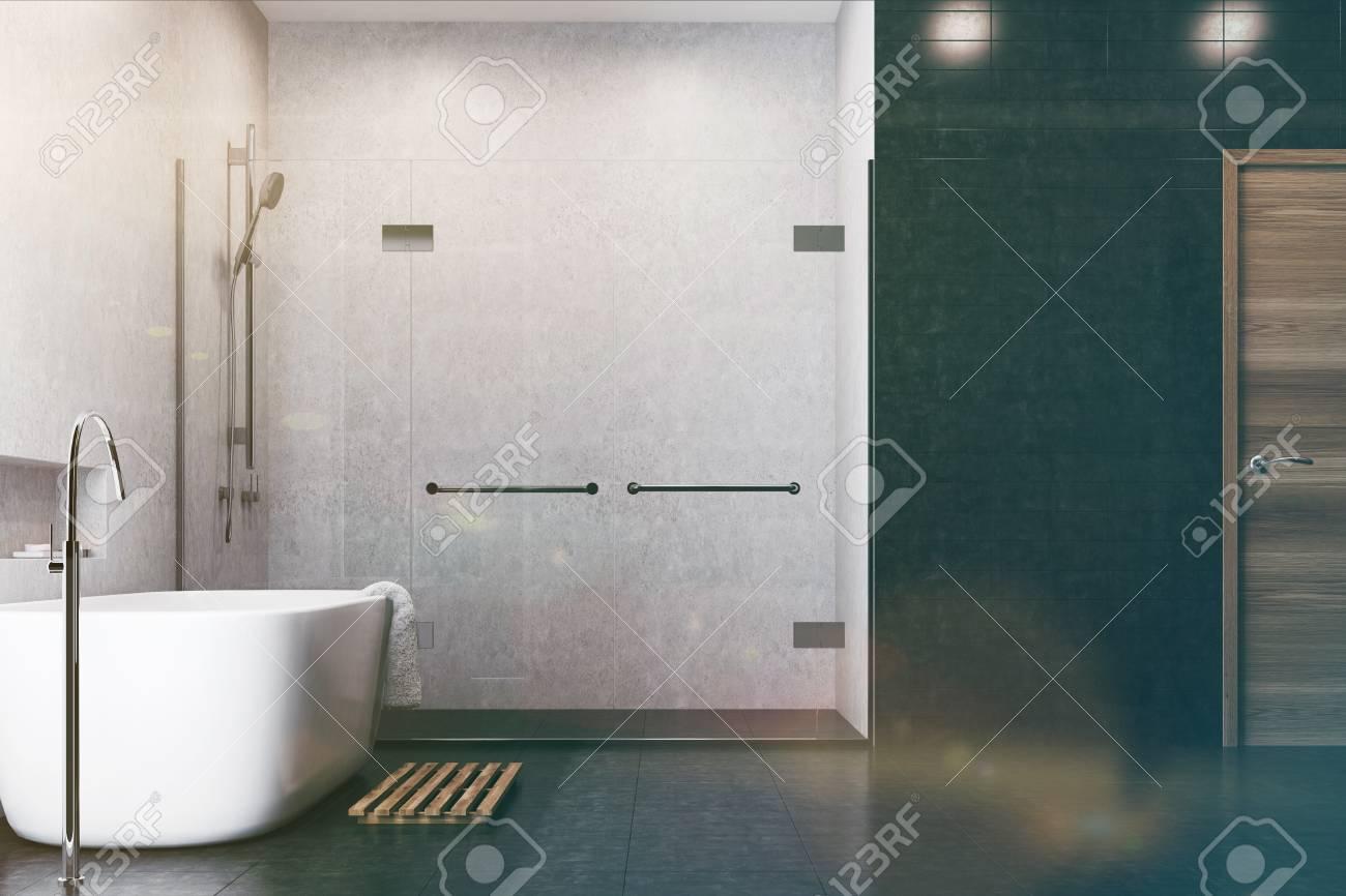 Carrelage Salle De Bain Limoges ~ Int Rieur De Salle De Bain Blanc Avec Des Carreaux Noirs Utilis S