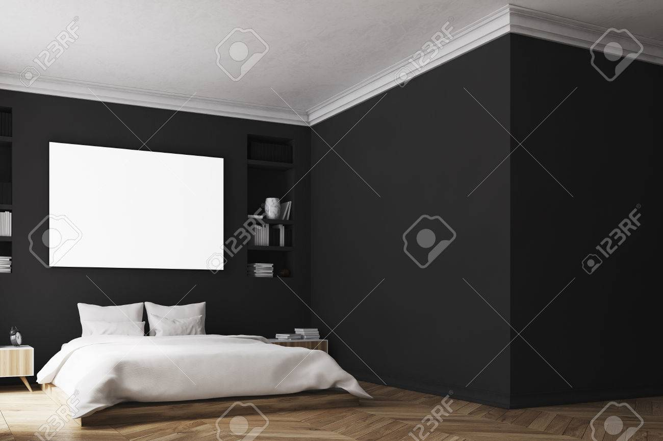 Interior Of A Modern Luxury Bedroom With Black Walls A Large Stock Photo Picture And Royalty Free Image Image 80923187