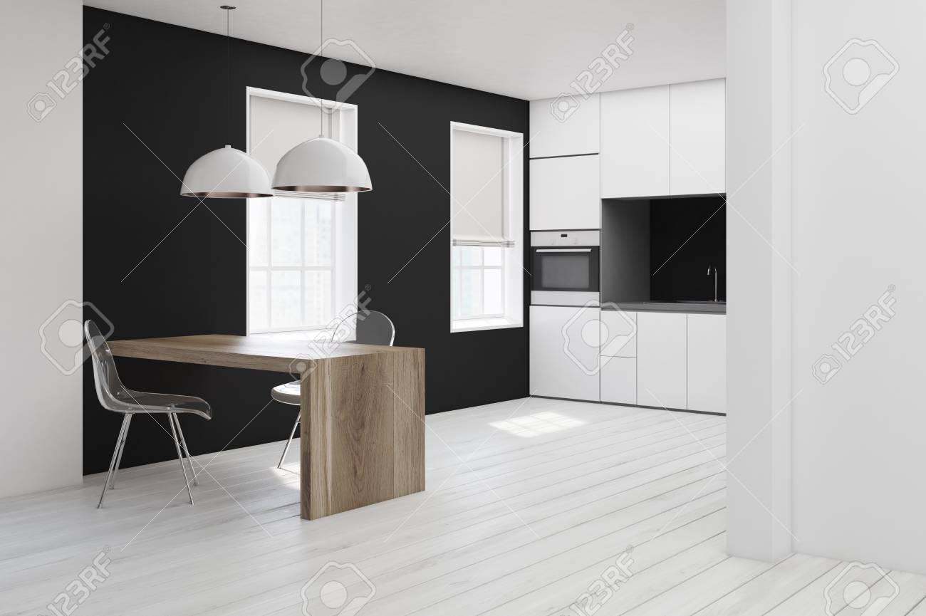 Gros Plan D\'un Intérieur De Cuisine Blanc Et Noir Avec Un Plancher ...