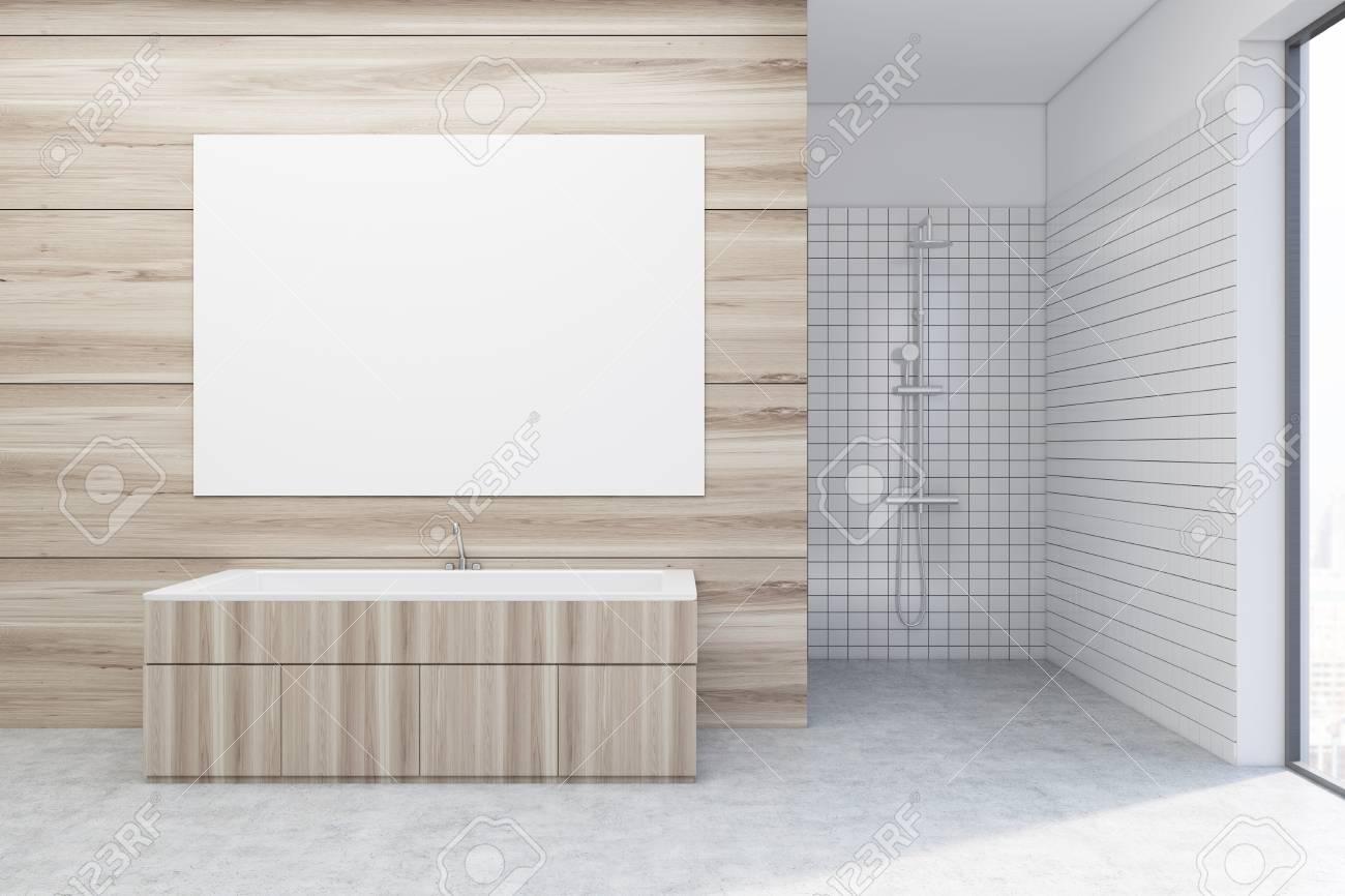 Interieur De Salle De Bains En Bois De Luxe Avec Une Baignoire En Bois Et Une Douche Affiche Horizontale Sur Un Mur Maquette 3d Banque D Images Et Photos Libres De Droits Image