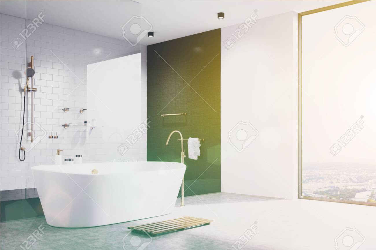 Luxury White Bathroom Interior With White And Black Tiles, A.. Stock ...