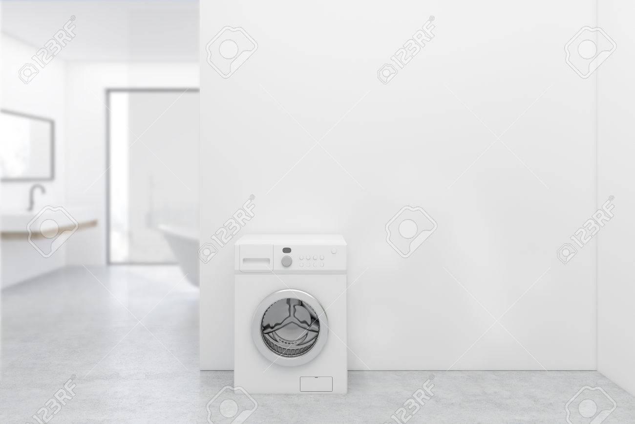 Lavadora Con Lavabo.Interior De Bano Blanco Con Una Lavadora Un Piso De Madera Blanca Un Lavabo Y Una Banera Ventana Panoramica Representacion 3d Simular