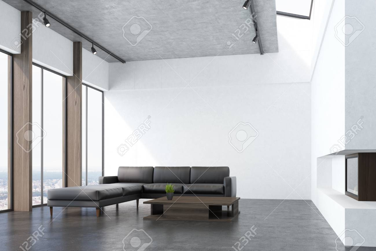 Side View Of A White Living Room Interio With A Concrete Floor ...