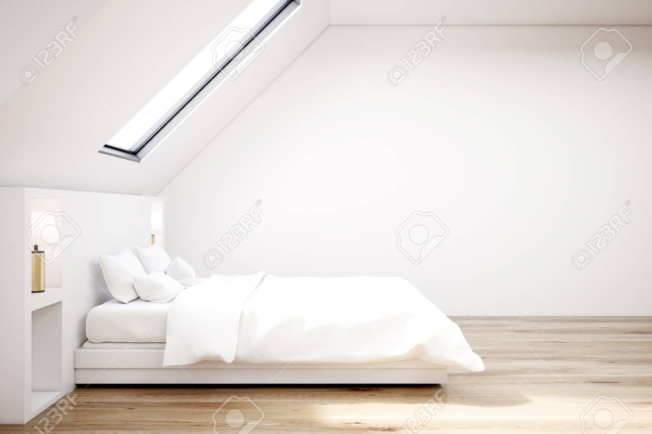 Bedroom side view Modern Bedroom Stock Photo White Attic Bedroom With Wooden Floor Narrow Window White Bed With Bedside Tables Side View 3d Rendering Mock Up 123rfcom White Attic Bedroom With Wooden Floor Narrow Window White