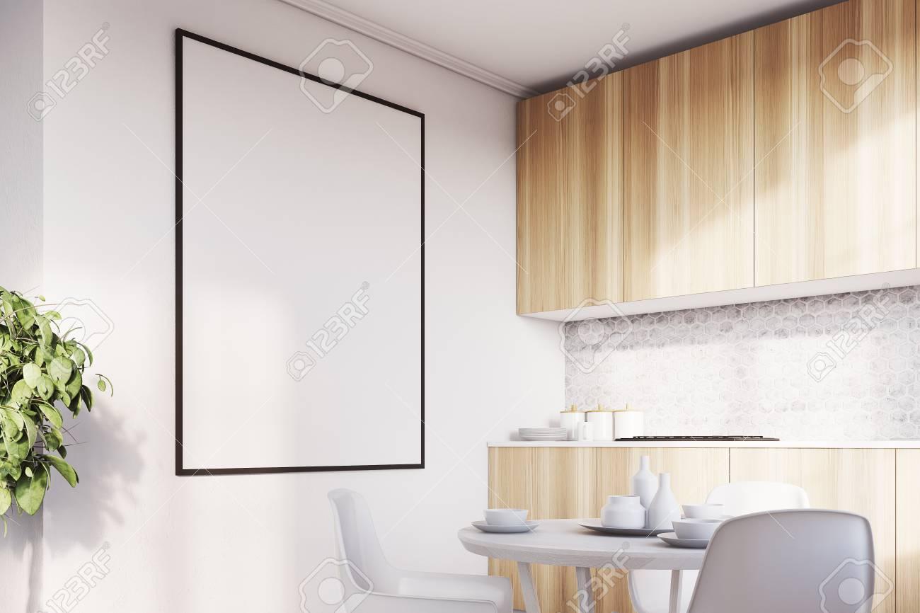Interieur De Cuisine Blanche Avec Une Table Des Chaises Une