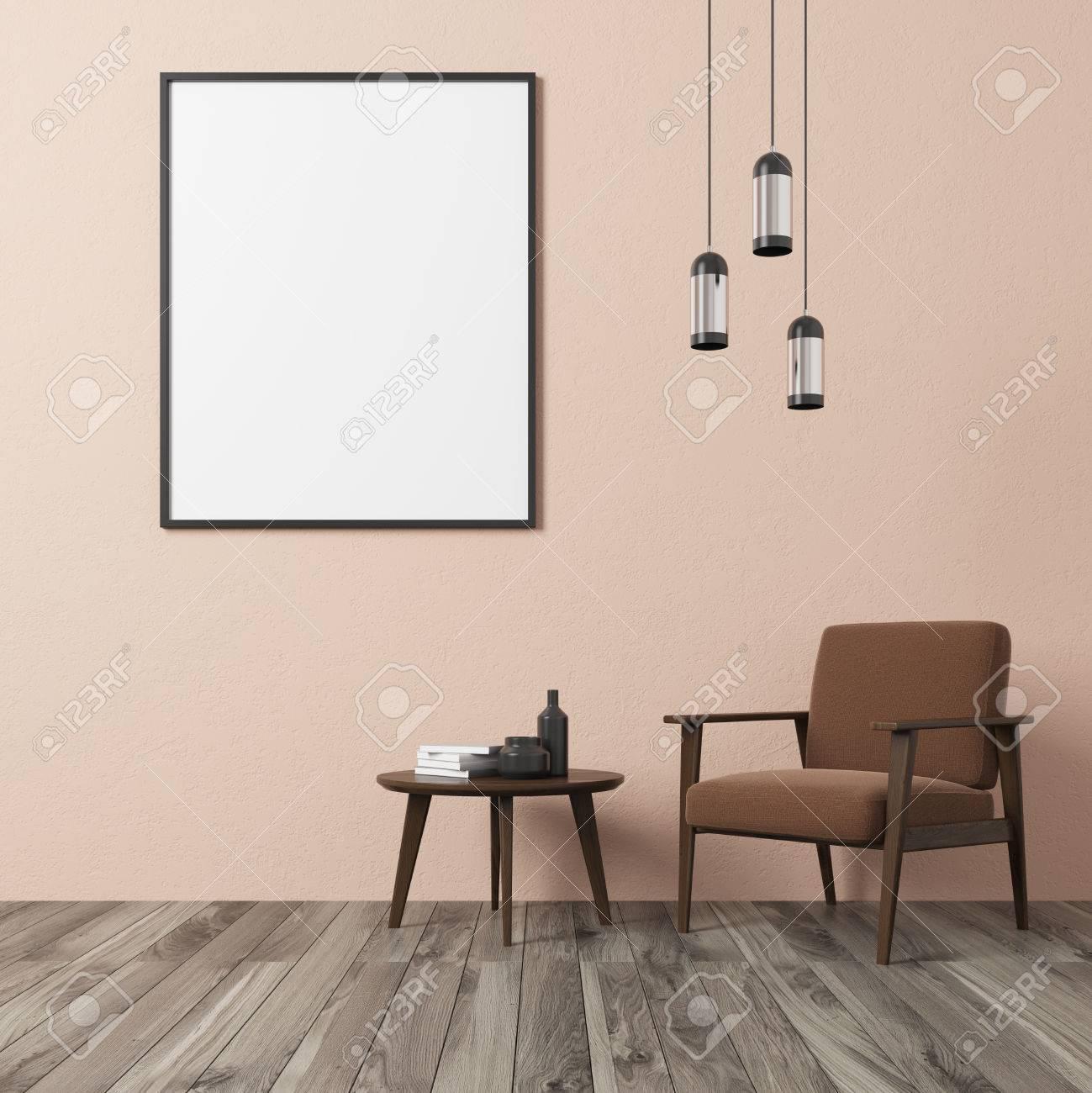 Salon De Mur Beige Intérieur Avec Fauteuil Marron, Table à Café Avec ...