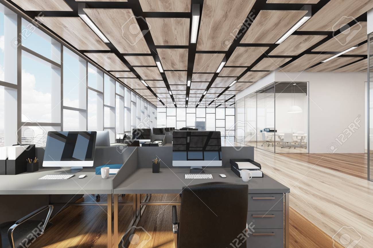 Wooden Floor Open Office Interior With Panoramic Windows And