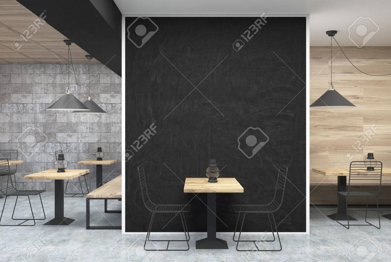 dark gray wall cafe interior with a large black wall fragment in the center a - Large Cafe Interior