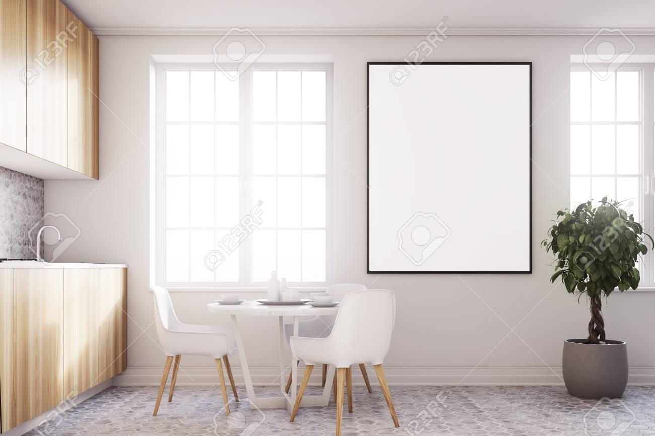 gabinetes de cocina en cemento Interior Blanco De La Cocina Con Un Piso De Cemento Un Cartel Encimeras De Madera Y Gabinetes Y Un Rbol En Una Olla Vista Lateral Simulacro De