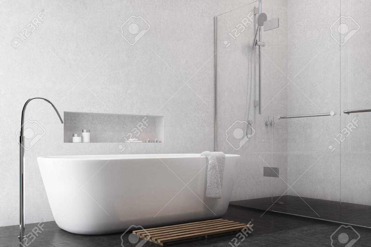 Weißes Badezimmer Interieur Mit Einem Schwarzen Boden, Eine Dusche ...