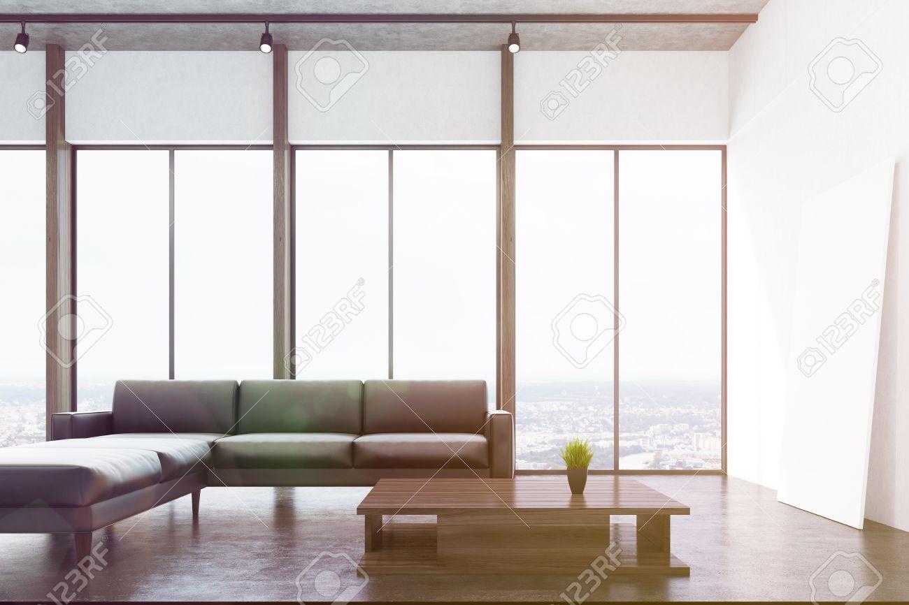 Weisses Wohnzimmer Interio Mit Betonboden Panoramafenster Kamin