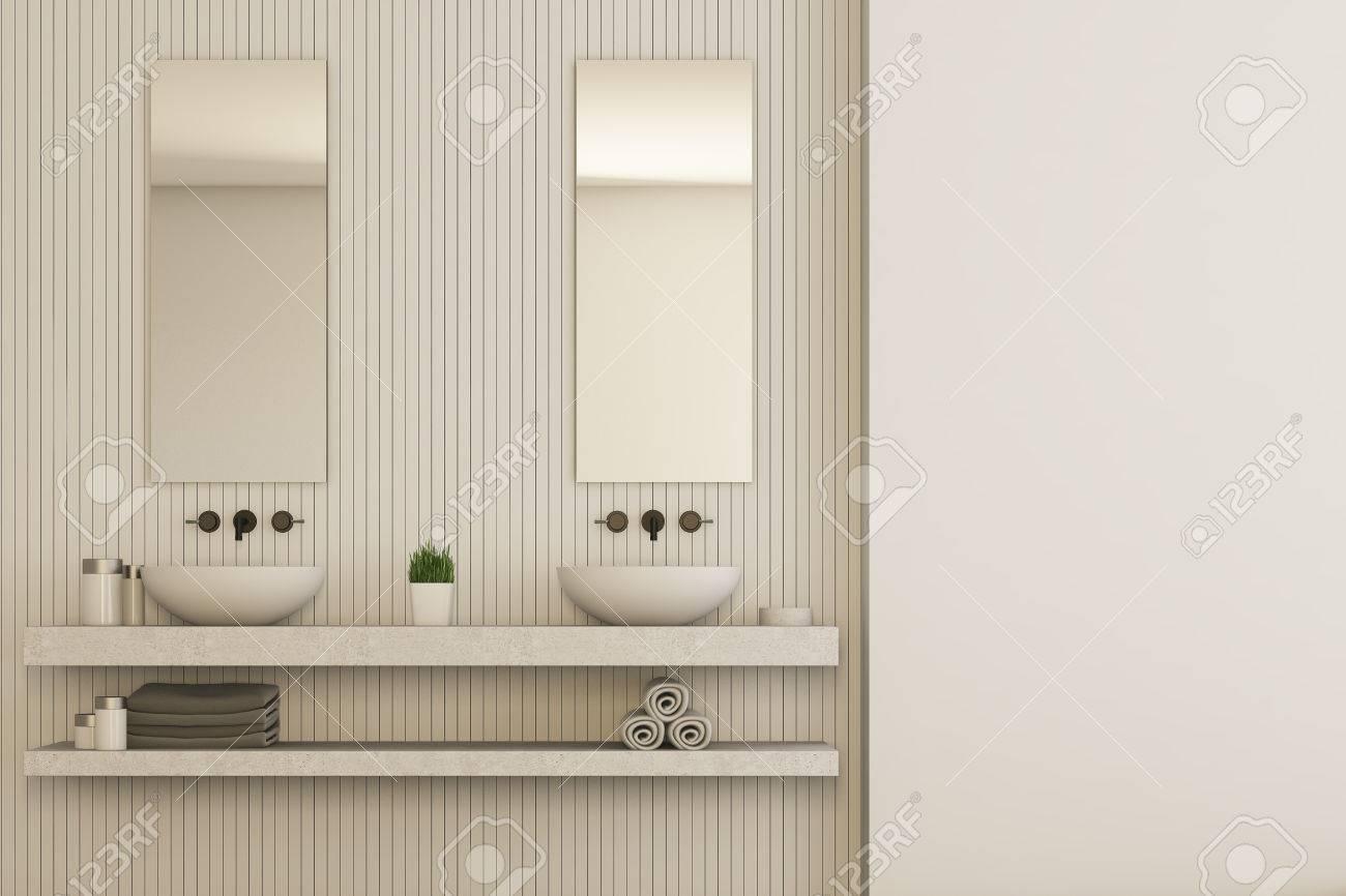 Immagini stock interno beige del bagno con una mensola in marmo